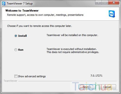Hướng dẫn cài đặt và sử dụng teamviewer 7