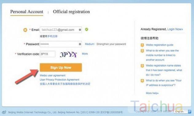 Cách tạo tài khoản mạng xã hội Weibo