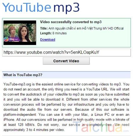 Hướng dẫn đổi video Youtube sang MP3 trực tuyến