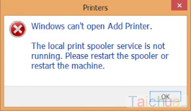 Hướng dẫn sửa lỗi The Print spooler service is not running trên Windows
