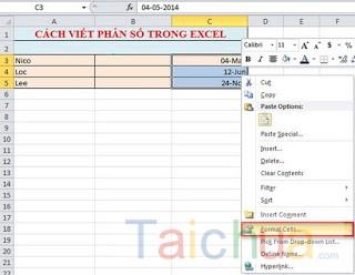 Cách viết công thức phân số trong Excel 2010