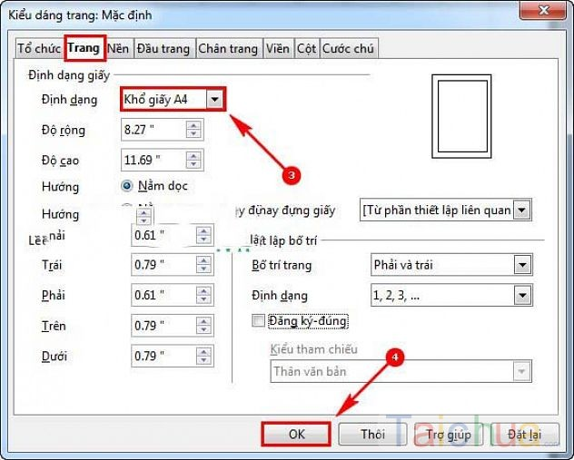 Hướng dẫn cách chọn kích thước khổ giấy trong OpenOffice