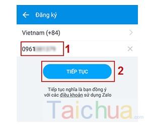 Hướng dẫn đăng ký Zalo trên điện thoại