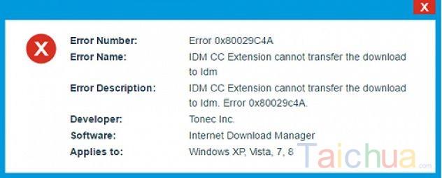 Hướng dẫn sửa lỗi 0x80029C4A khi dùng công cụ download IDM