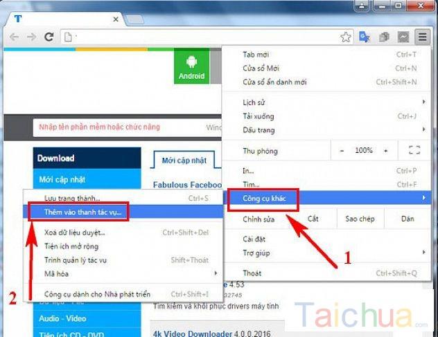 Hướng dẫn lưu trang web Chrome, Cốc cốc hay Firefox lên thanh Taskbar