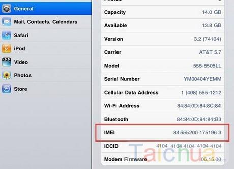 Hướng dẫn check iMei iPad đơn giản
