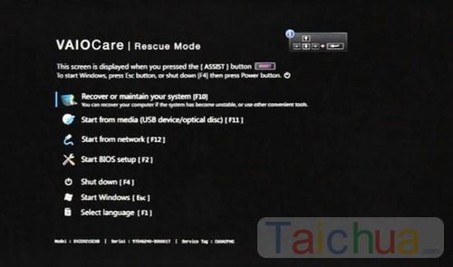 3 bước Recovery Windows  giữ bản quyền cho Sony Vaio