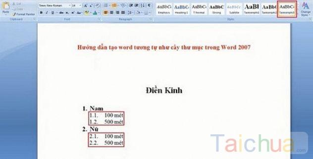 Hướng dẫn tạo cây thư mục trong Word 2007
