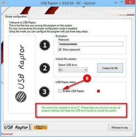 Hướng dẫn đặt mật khẩu máy tính bằng USB nhờ công cụ USB Raptor