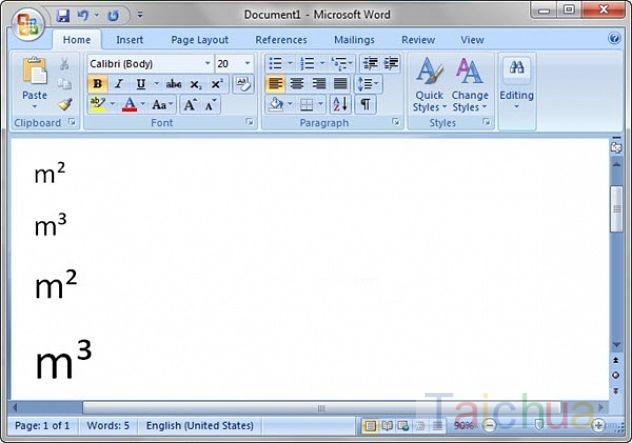 Hướng dẫn cách gõ được chỉ số m2 m3 trong word, excel, powerpoint