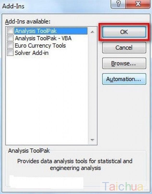 Hướng dẫn cài đặt và gỡ bỏ Add In trong Excel 2010