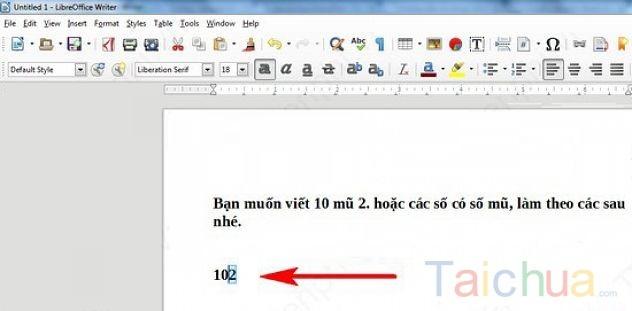 Hướng dẫn chèn số mũ trong LibreOffice