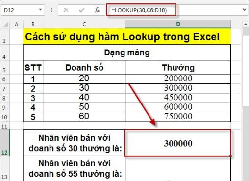 Hàm LOOKUP trong Excel – Tìm kiếm một hàng hoặc một cột